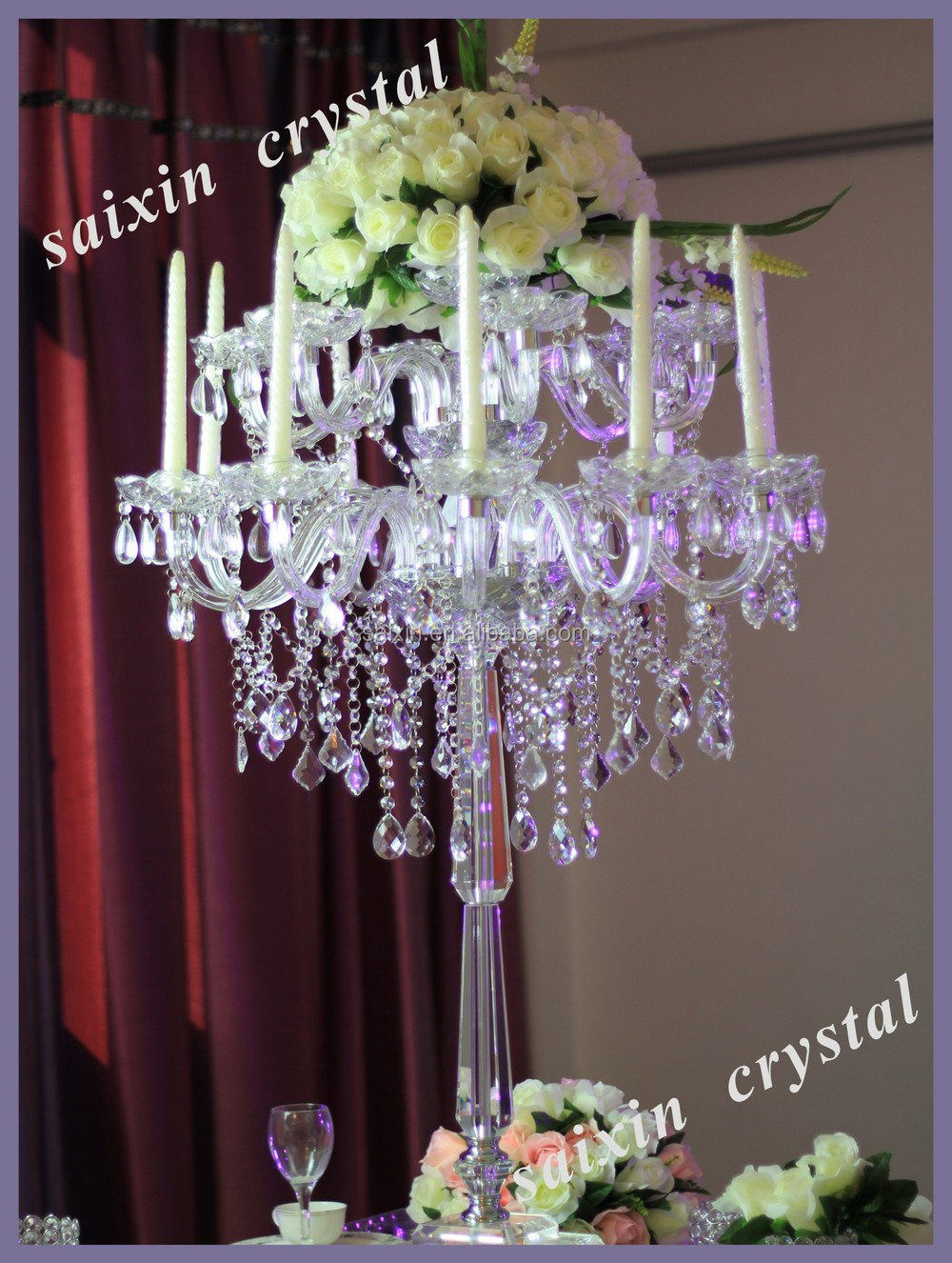 2015 New !gorgeous crystal centerpieces wedding table chandeliers ...