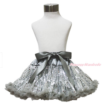 Gray Silver Sparkle Bling Sequins Girl Pettiskirt Party Dress Dance Tutu 1-8Year