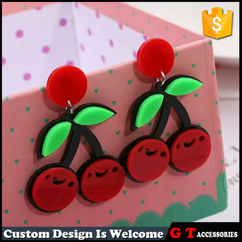 Cute Women Red Cherry Acrylic Earrings