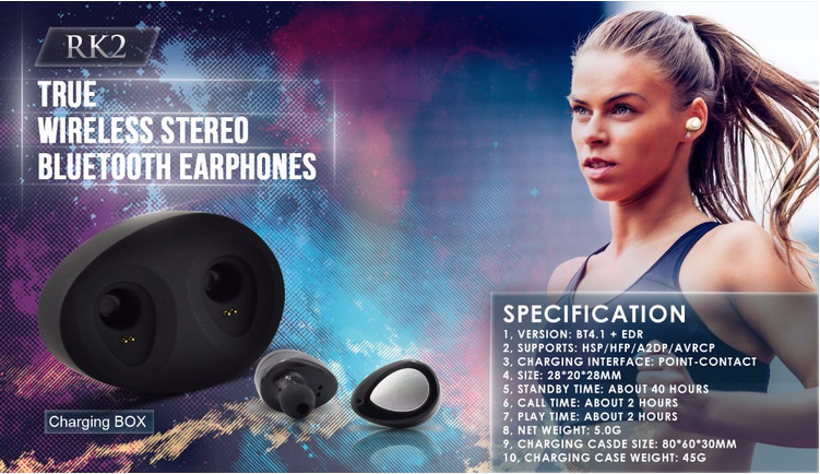 2016 New Products High Quality IN-Ear Hidden MINI Wireless Bluetooth 4.1 Stereo Earphone Headphone RK2 Headset Handsfree
