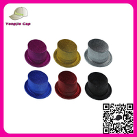 2015 Factory sale wholesale charm party hats Multi color Custom made plastic glitter top hat