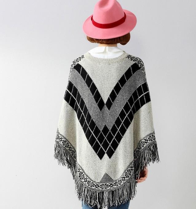 Señoras Vintage Argyle Patrones Poncho Con Flecos - Buy Poncho ...