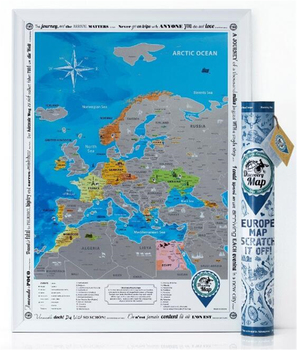 Detailed Europe Map With Scratch Off Stickers Large Size Tube