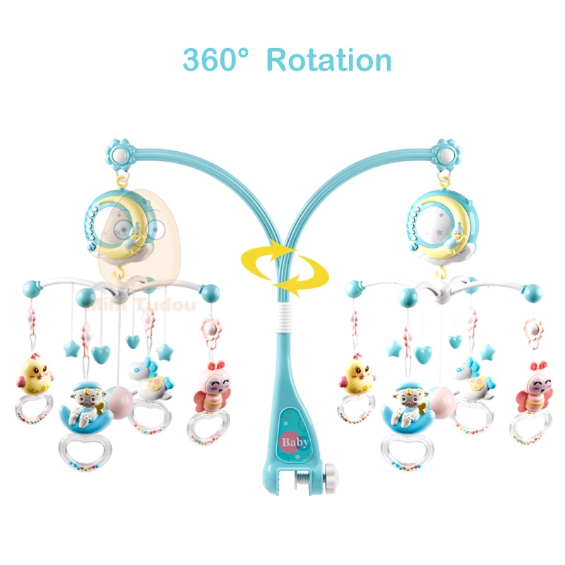 MST Hot sell Musical Projection Box Hanging Rattle Bracket Holder Baby Crib Toys Baby Mobiles For Kid