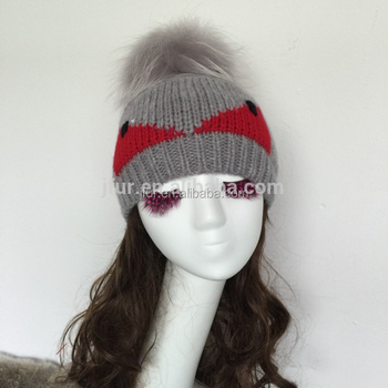 3704660cc889b New Raccoon Pom Pom Wool Knit Beanie Cap Hat Women Monster Face Hat ...