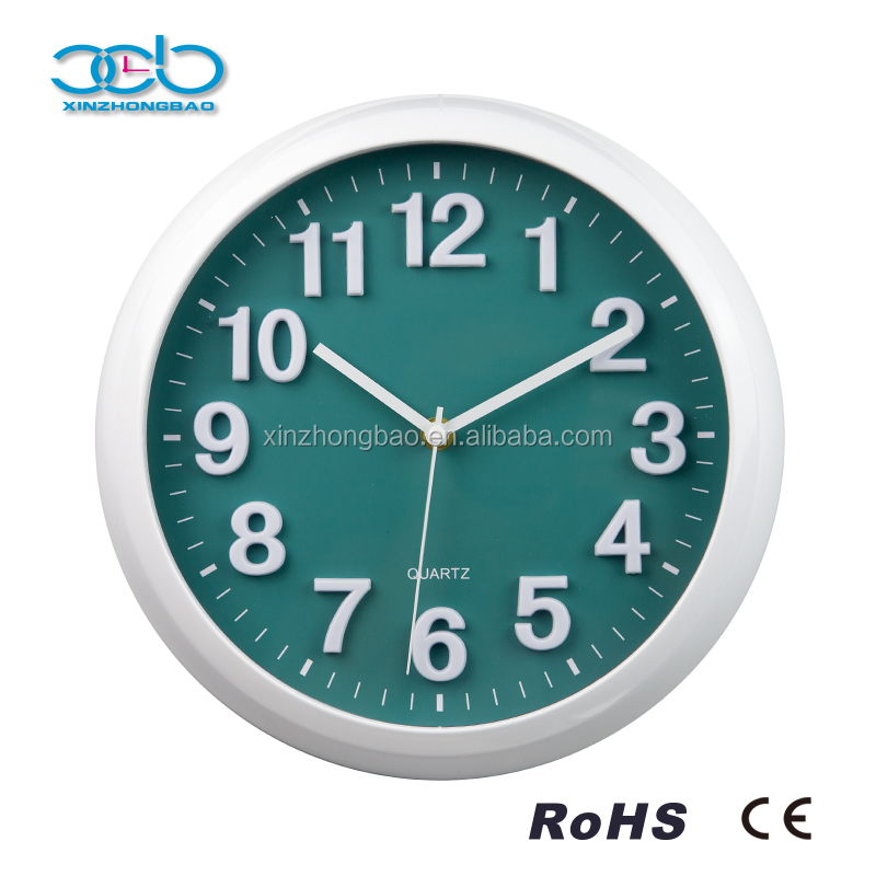 12 Inch 3D analog wall clock design with plastic frame