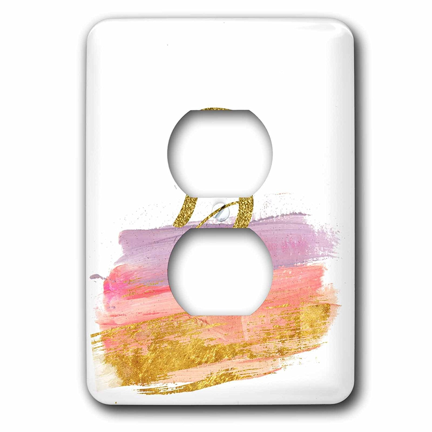 3dRose Anne Marie Baugh - Monograms - Modern Purple, Pink, Gold Brush Strokes Monogram B - Light Switch Covers - 2 plug outlet cover (lsp_267746_6)