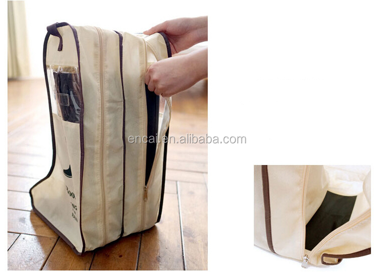 Encai New Design Household Non-woven Boots Storage Bag Wholesale Winter Shoes Pouch With PVC Window
