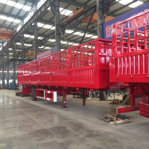 High Quality 3 Axle 50ton Bulk Cargo 40 Ton Stake 60ton Animal Poulty Transport Fence 20m3 Damper Semi Trailer For Sale
