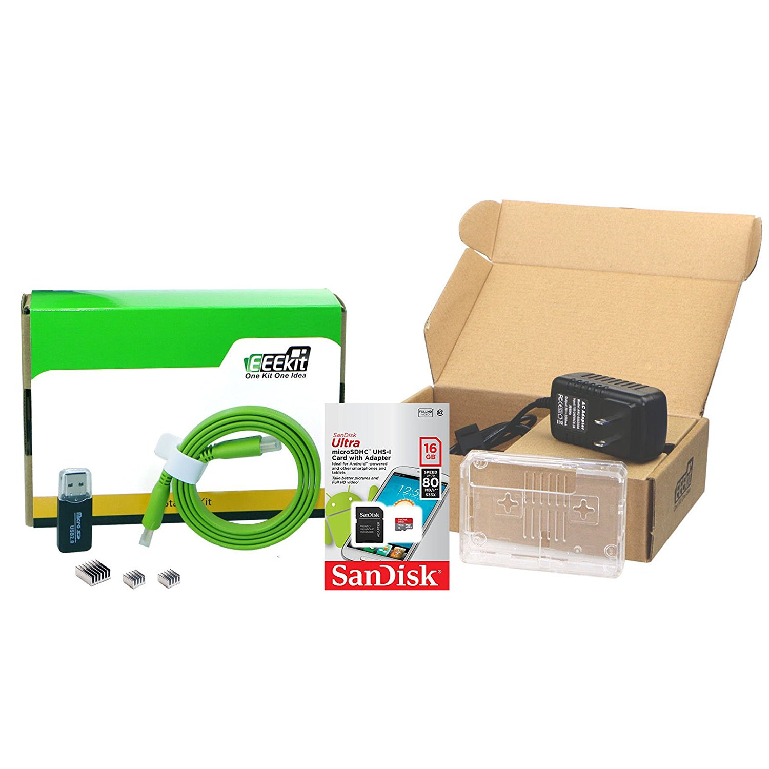 EEEKit 6in1 Starter Kit for Raspberry Pi 3, Clear Case,SanDisk 16GB Micro SDHC Memory Card, 2.5A Power Supply, Micro HDMI Cable,Heatsink,Card Reader