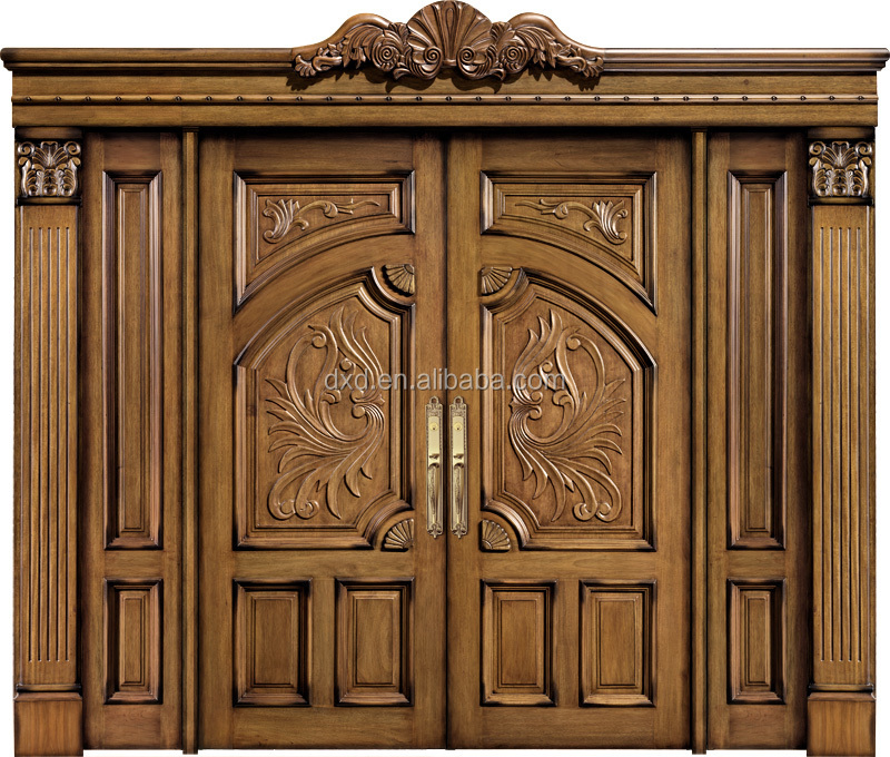 Luxury solid wooden doors prices /double door style entrance door ...