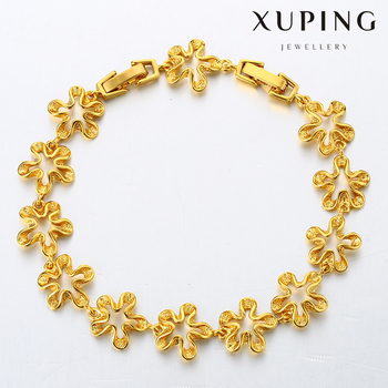 Xl7016 Xuping Imitation Jewelry Flower Shape Gold Charm Bracelet For Women