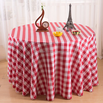 100% Polyester 120 Inch Round Checkered Tablecloth For Banquet