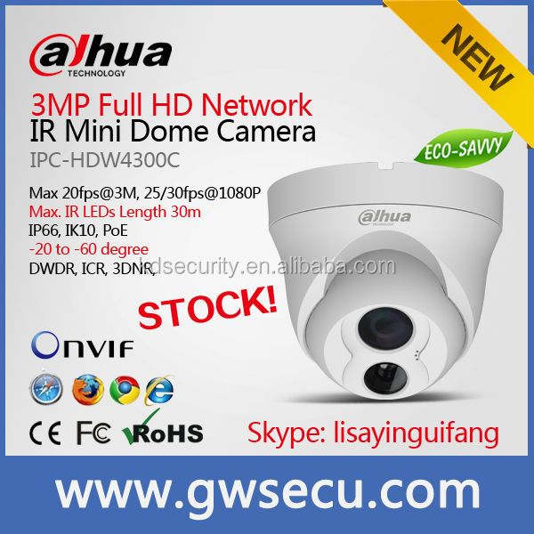 Dahua IK10 vandalproof 30 meters IR Dome IPC-HDW4200C IP camera 2 Megapixel 1080p Network Web View dahua ip66 waterproof camera
