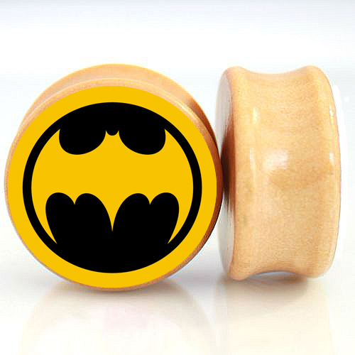2pcs/Lot Pair of Nature Wood Ear Plugs Fit Ear Gauges Plugs - Batman 2 6MM-25MM 2G-1''