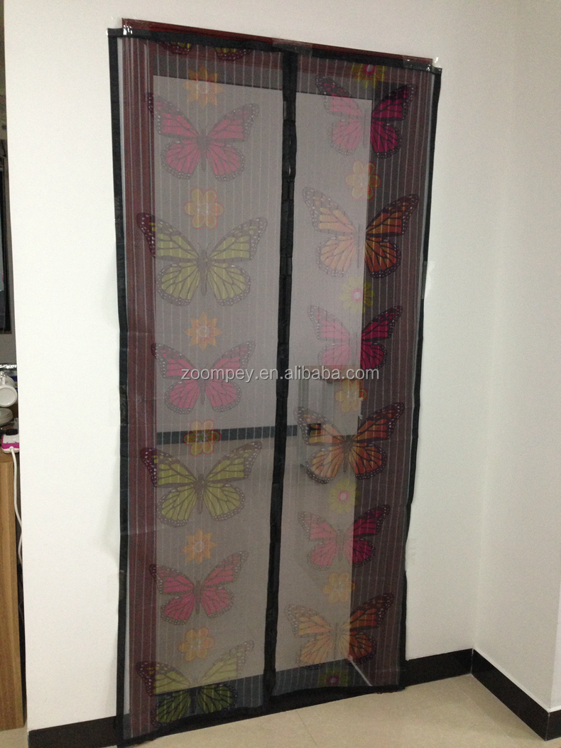 Low Price Printed Magnetic Mesh Curtain adjustable security insect screen