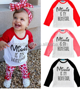 2017minnie is my homegirl printing letter long sleeve tshirt fashion wholesale boutique gril clothing best quality made