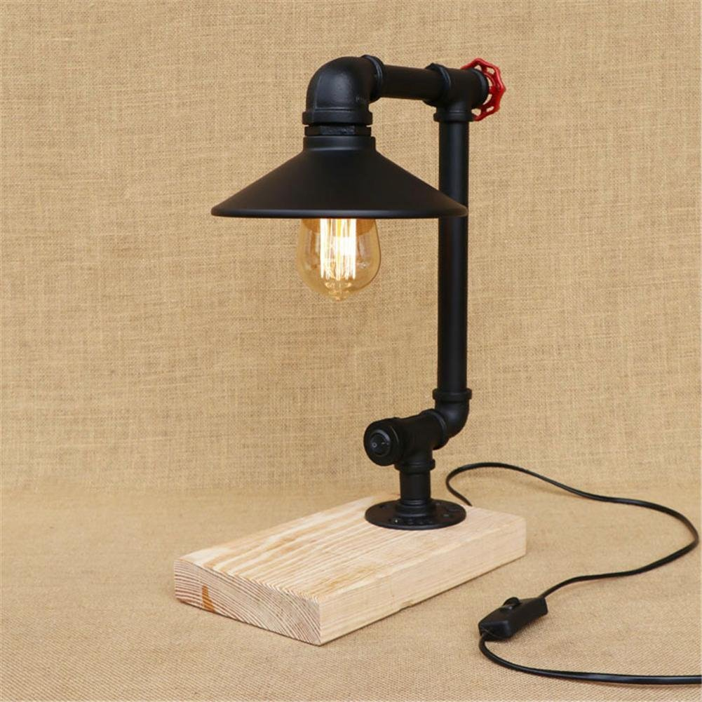 Get Quotations BJVB Creative Quartet Table Lamp Solid Wood Bedroom Steel Pipe Bed Modern Industrial Metal Water