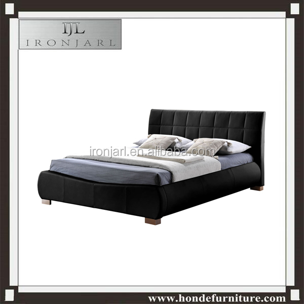 leather king double single size black bed frame with mattress B-173