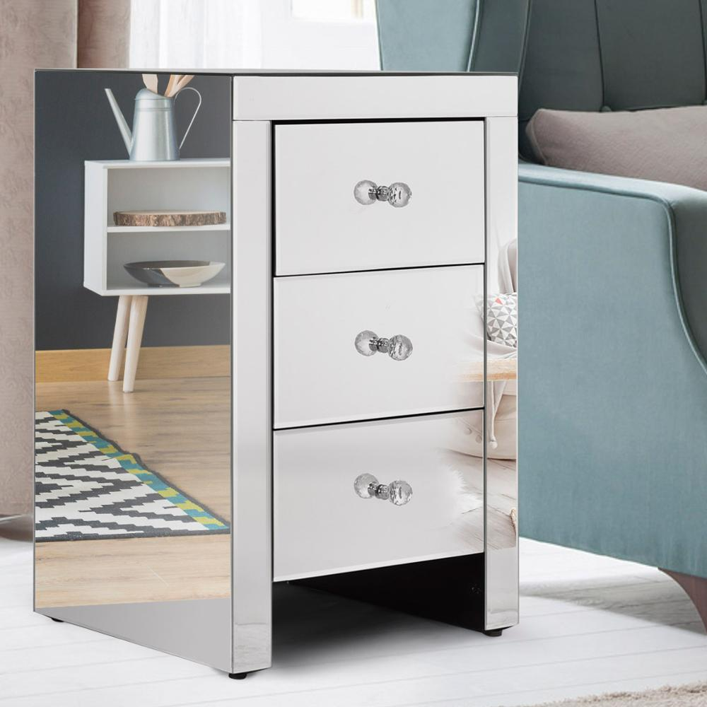 simple style mirror furniture silver mirrored nightstand with 3 drawers/night table/bedside table