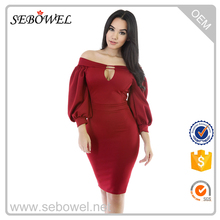 Latest Puffs Peep Hole Off Shoulder Midi Bodycon Dress