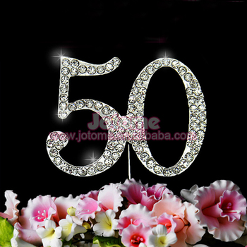 Amazing Wholesale Monogram Silver Rhinestone Number Cake Toppers For 50Th Funny Birthday Cards Online Inifofree Goldxyz