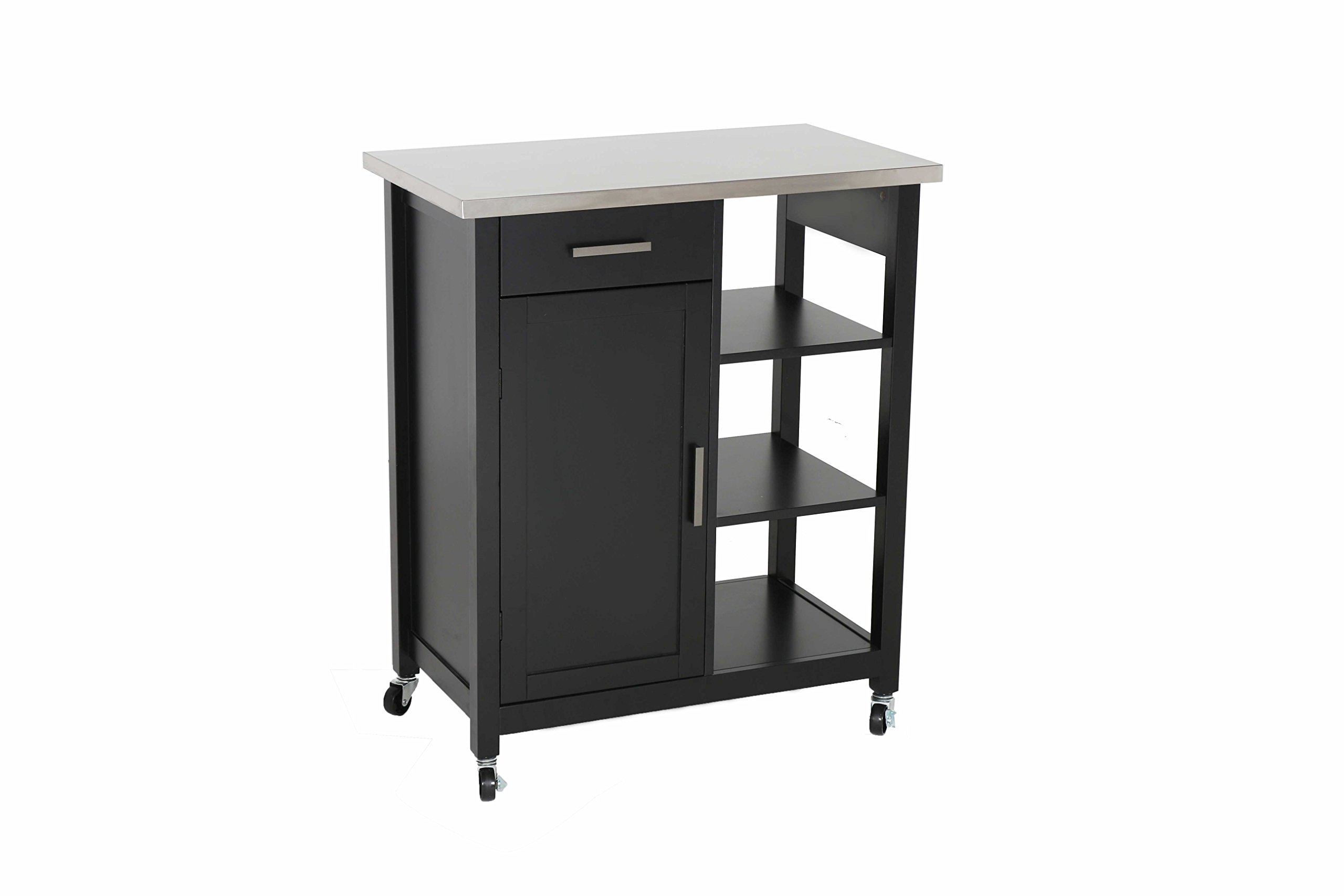 "Oliver and Smith - Nashville Collection - Mobile Kitchen Island Cart on Wheels - Black - Stainless Steel Top - 32"" W x 17"" L x 36"" H 102117-01blk"