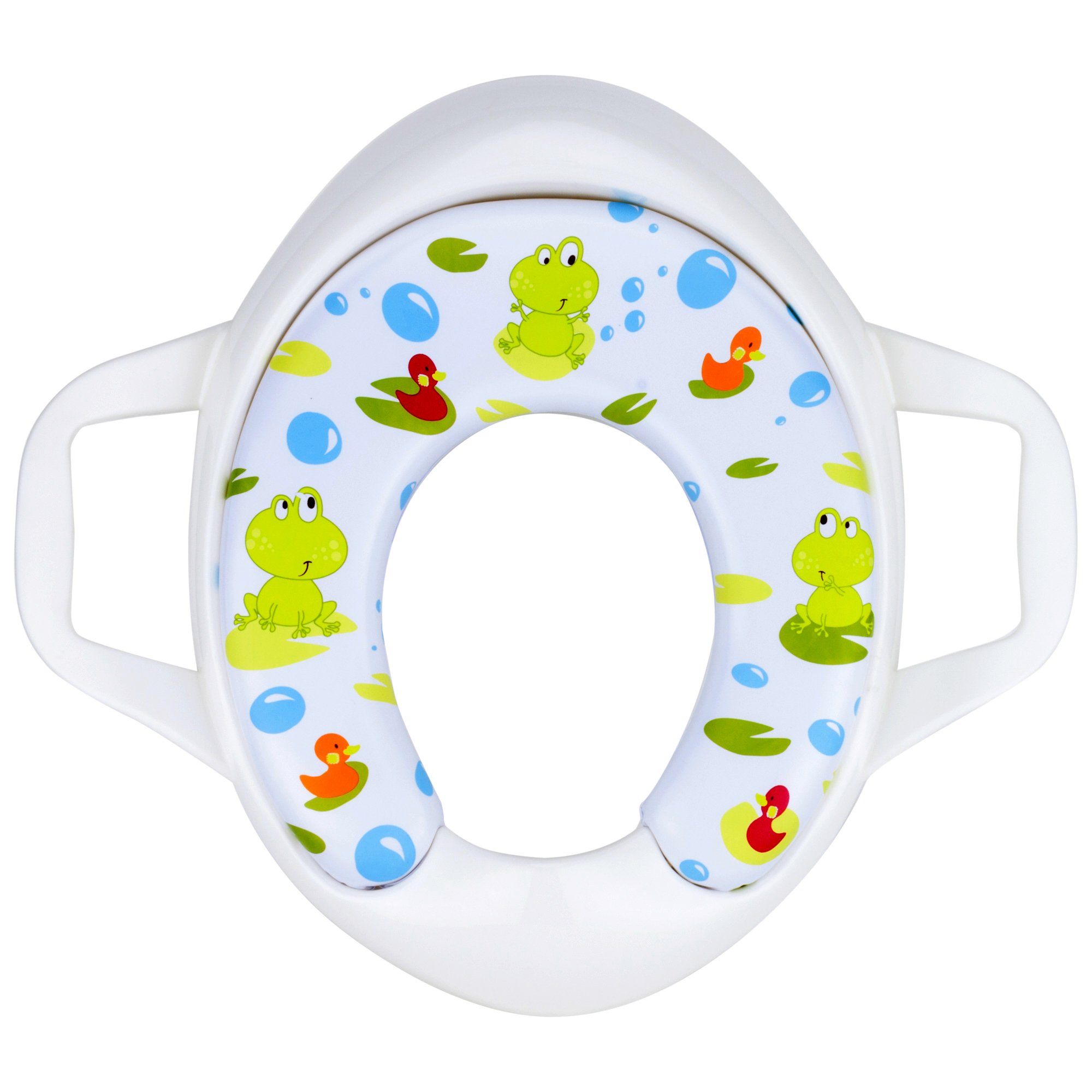 Potty Training Seat for Standard Size Toilet | Potty Seat for Toilet | Best Portable Potty Seat | Soft Toilet Ring | Ergonomic Handles | Cushion Potty Ring | Strong & Durable | For Girls and Boys | Toddler & Kid & Baby | Ideal For Travel |Free Ebook