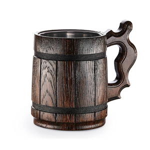 Stainless steel inner wall wood groove carved bar use beer drinking mug