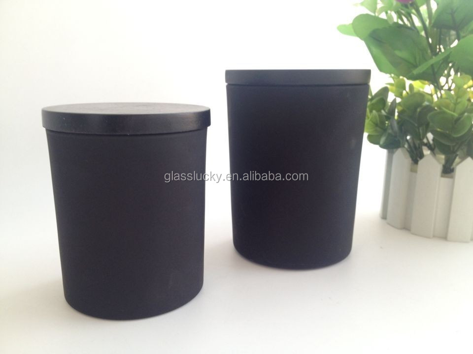Wholesale matte black glass candle jars with black wooden lid, View black  glass jar, Glasslucky Product Details from Zibo Glasslucky Glassware Co ,