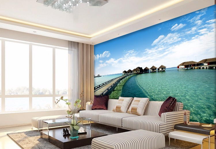 Customized Large Murals Maldives Sea View 3d Wallpaper Bedroom Living Room  TV Background Wallpaper
