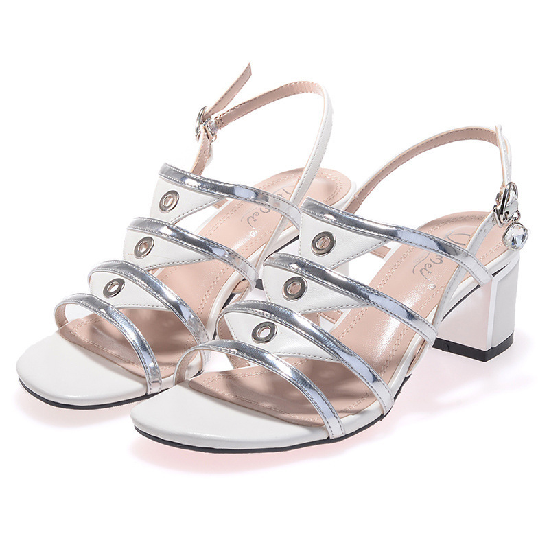 Gladiator Summer Shoes Women Heel Sandals 2015 New Fashion Cut-Outs Sandals With Thick Spell Color Buckle Open Toe Women's Shoes