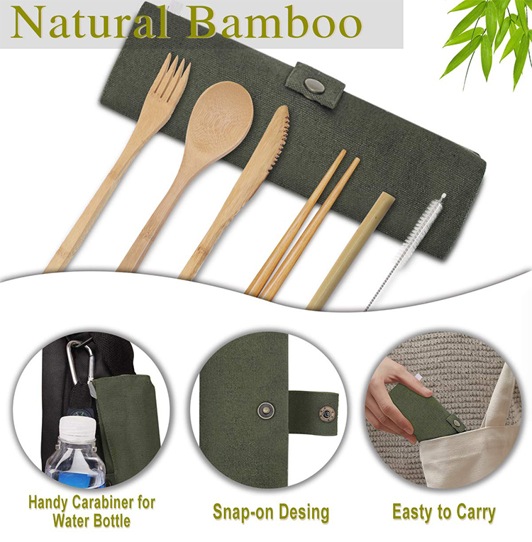 Wholesale Reusable ECO Friendly Cubiertos De Bambu Travel Bamboo Cutlery Set With Bag