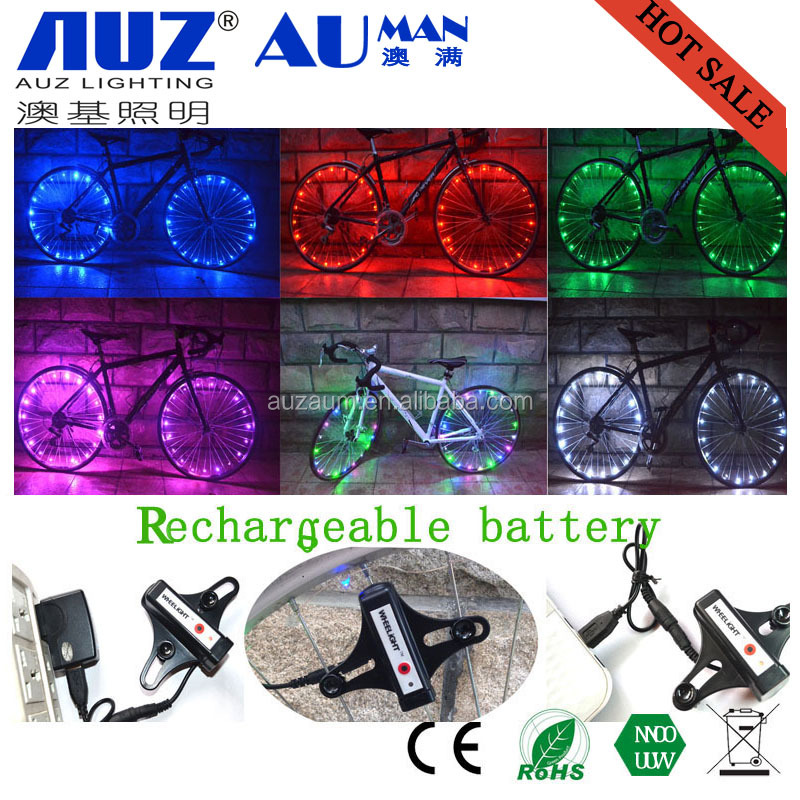 2016 Super bright 2.2m LED light string Colorful 20LED Bicycle Bike Wire Tyre Wheel Spoke Light