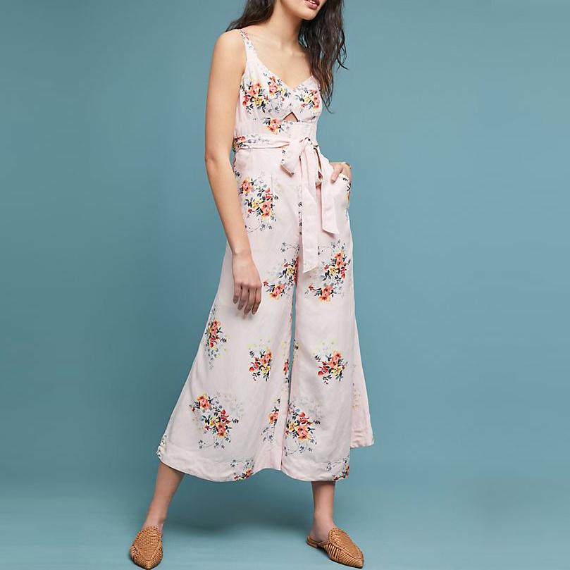 Großhandel Sommer Damen Sexy Schulter Gurt Baumwolle Leinen Weiß Floral Overall Für Frauen Direkt Hersteller