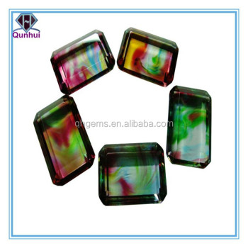 Colorful glass rectangle shaped zircon necklace