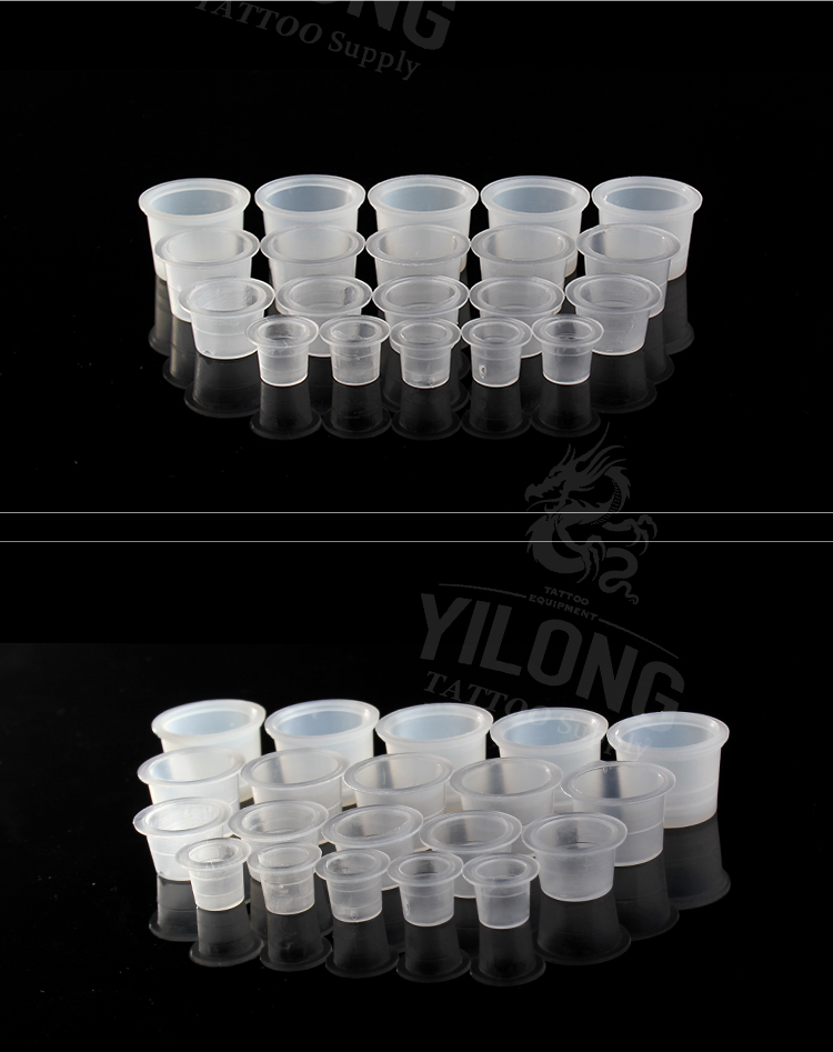 Yilong Hot Sell Tattoo High Quality Sl/M/L/XL size pigment cap plastic ink cap 1000pcs