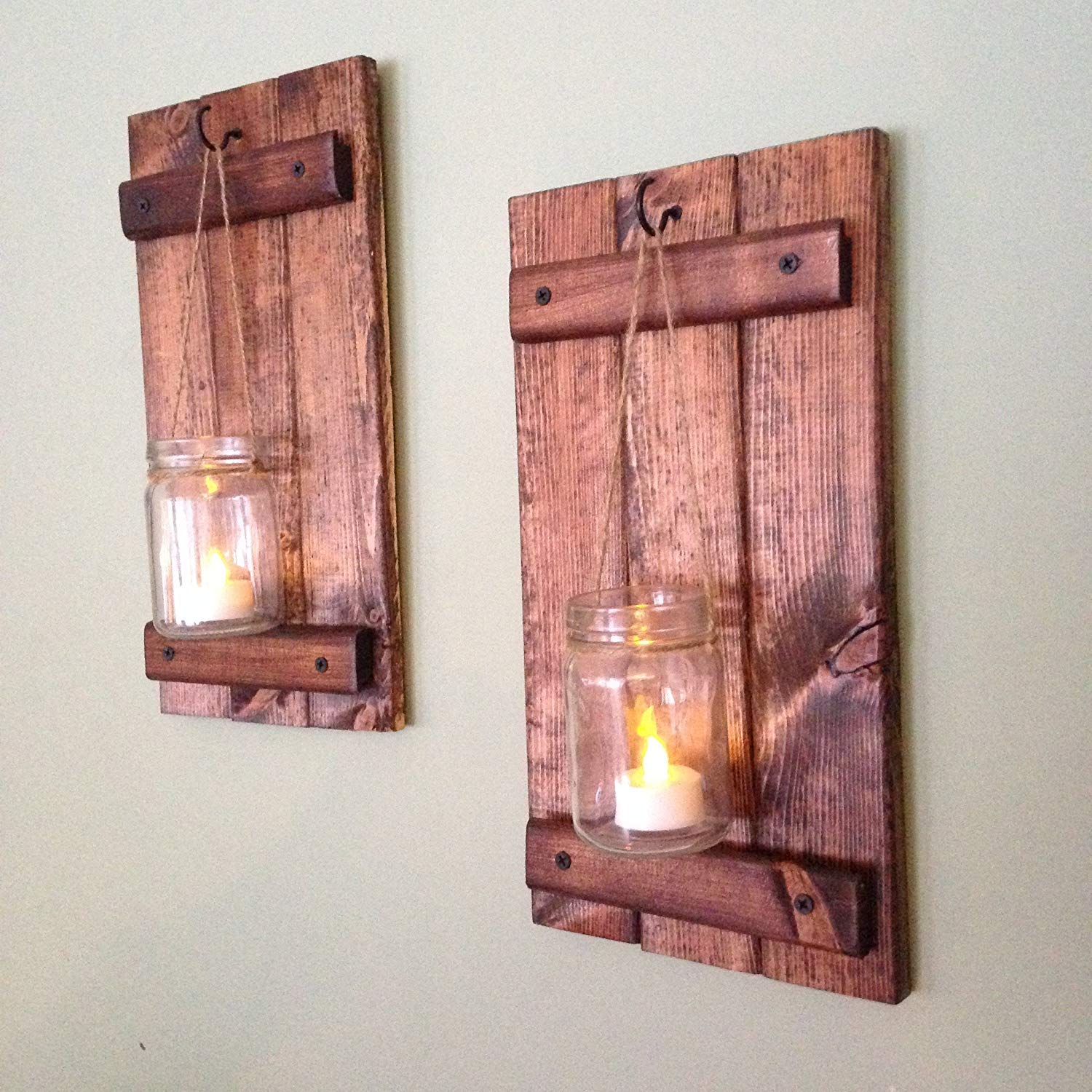 Wall Sconce, Rustic Wall Decor, Wood Wall Sconce, Rustic Wall Sconce, Candle Holder, Set of Two