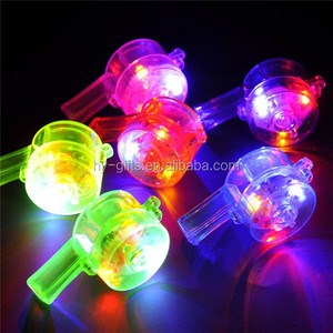 round cheer glow stick colored led whistles lighting plastic led whistle