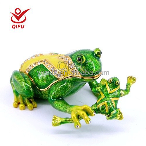 Fashion Hand Painted Frog Jewelry Box,Metal Frog Garden Art,Metal Garden  Ornaments