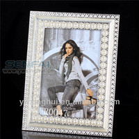 New Pruduct 2014 wedding pewter pearl photo frame, pearl metal photo frame, mini pearl photo frames
