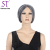 Old Lady Fashioned Grey Mix White Synthetic Hair Updo Wig With Bun