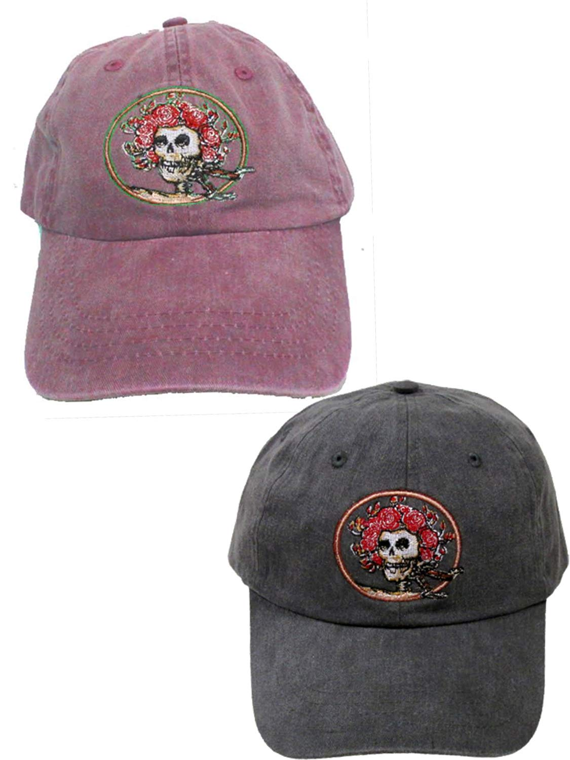 Get Quotations · Grateful Dead Skull and Roses Embroidered Hats - 2 Pack 0bb619937eee