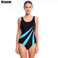Riseado Sports Suits Swimwear Women One Piece Swimsuit Striped Backless Padded Swimming New 2016 Bathing Suit