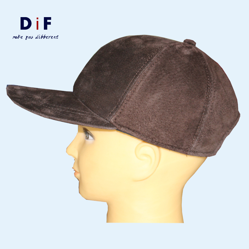 Get Quotations · High Quality Sheepskin Hat Genuine Winter Leather Hat  Baseball Cap Adjustable for Men Brown Thermal Suede cbced722d45e