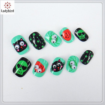 Ladybird ABS Non Toxic Girl Love Glitter Artificial Nails 3D Kid Fake Nail Tips