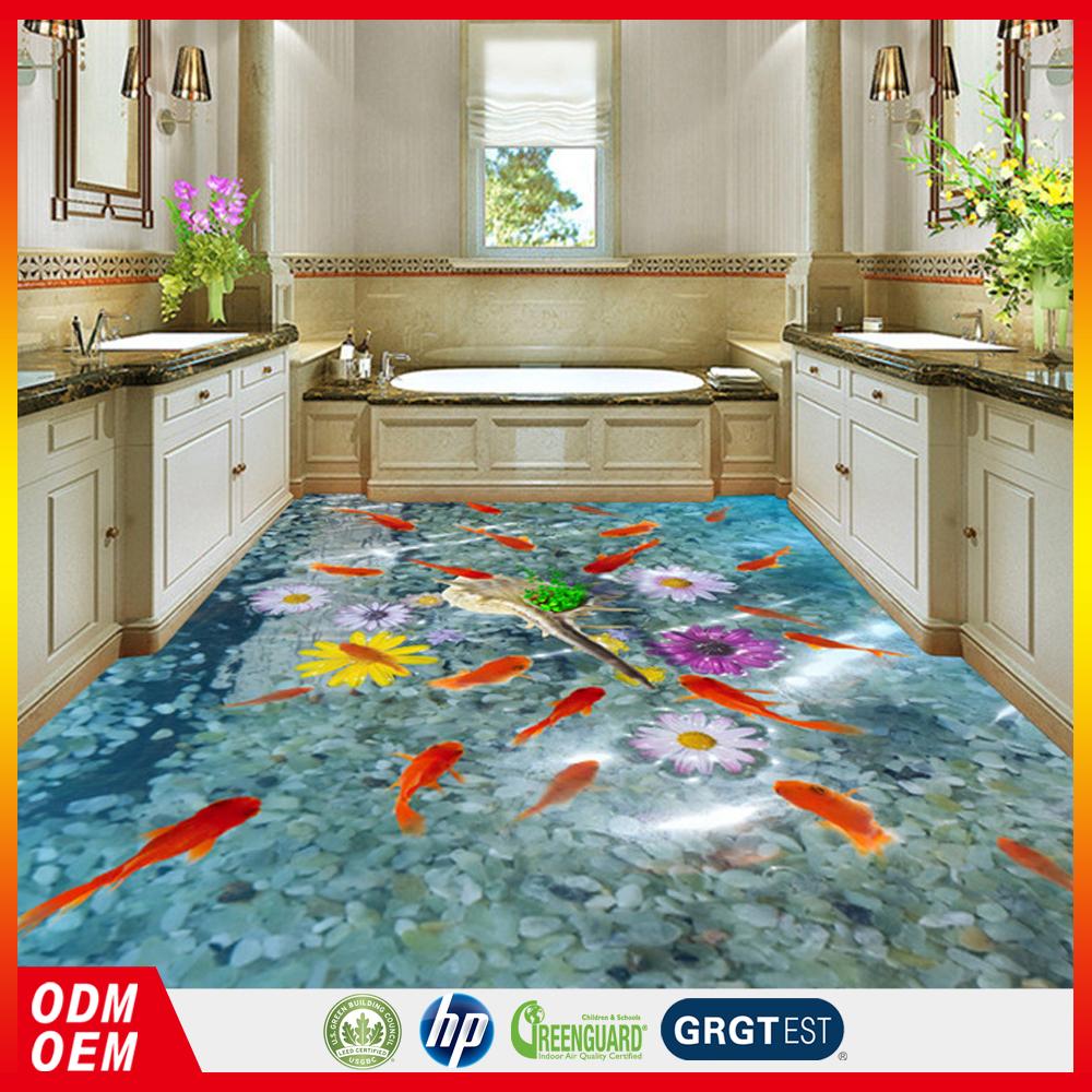 Goedkope prijs milieuvriendelijke Vloeren PVC stickers 3d floor stickers met PVC materialen