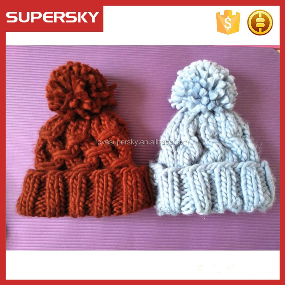 women chunky crochet winter thick beanie sky blue