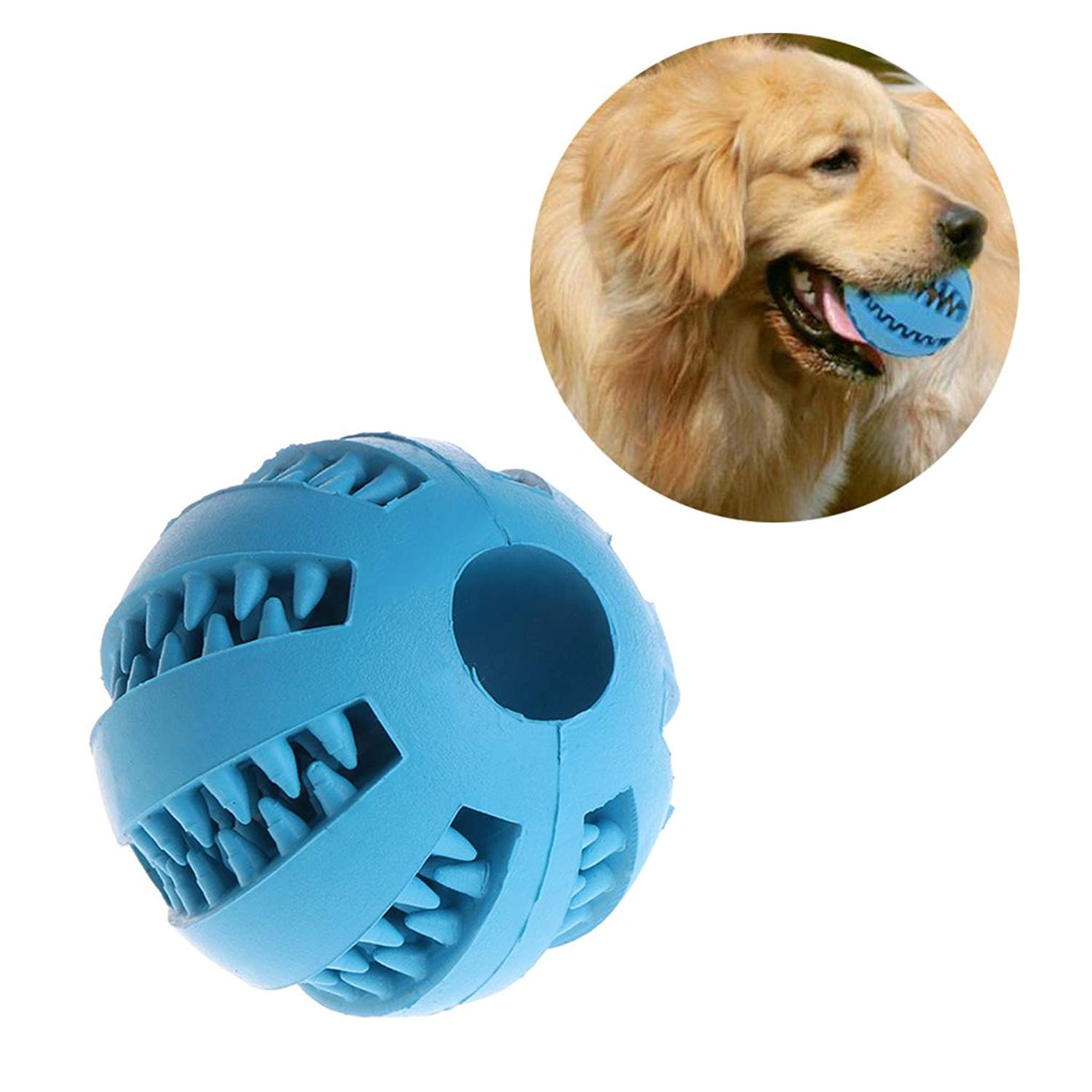 NNDA CO Pet Dog Chew Toy Treat Dispensing Ball Bite-Resistant Clean Teeth Natural Rubber ,1.97inch