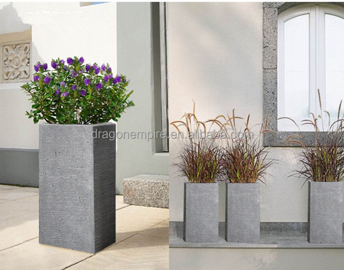 2015 Modern Tall Square Textured Fiber Cement Planters